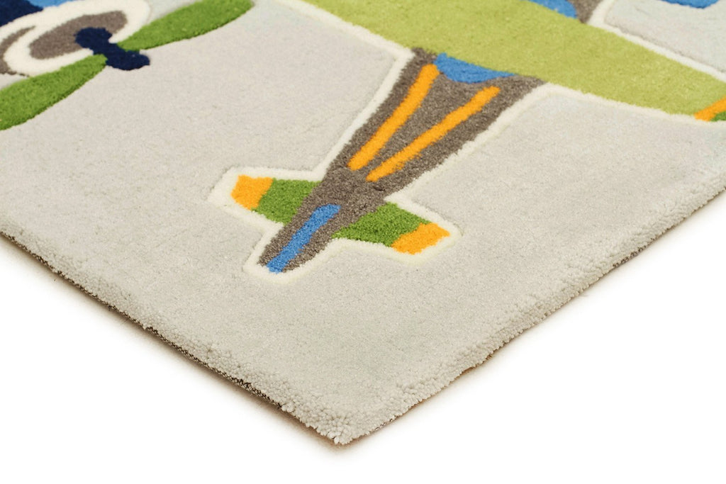 Little Aviator Plane Rug Blue