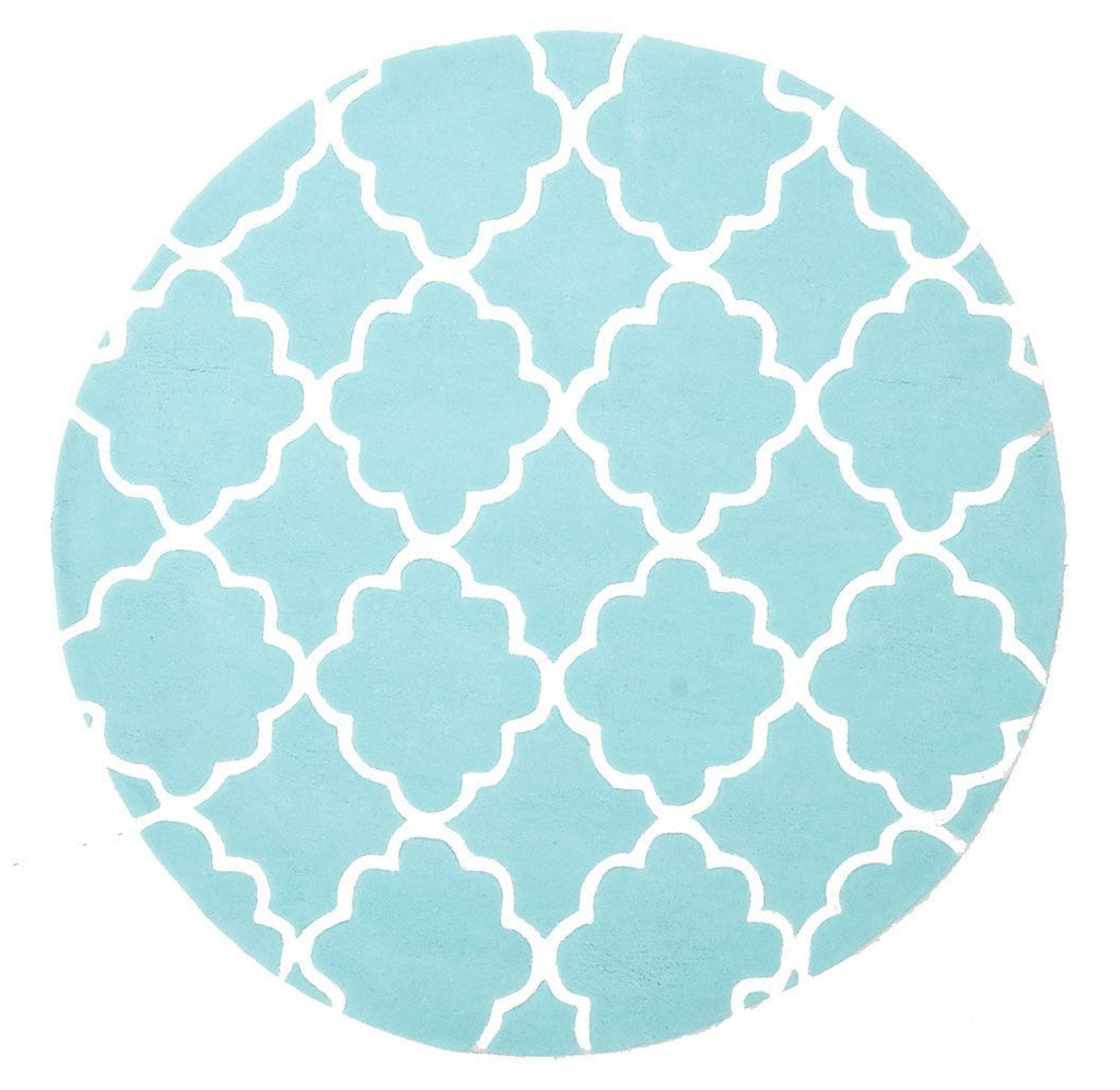 Kids Trellis Design Round Rug Soft Blue