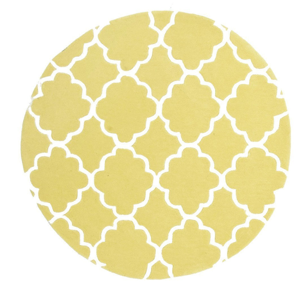 Kids Trellis Design Round Rug Yellow