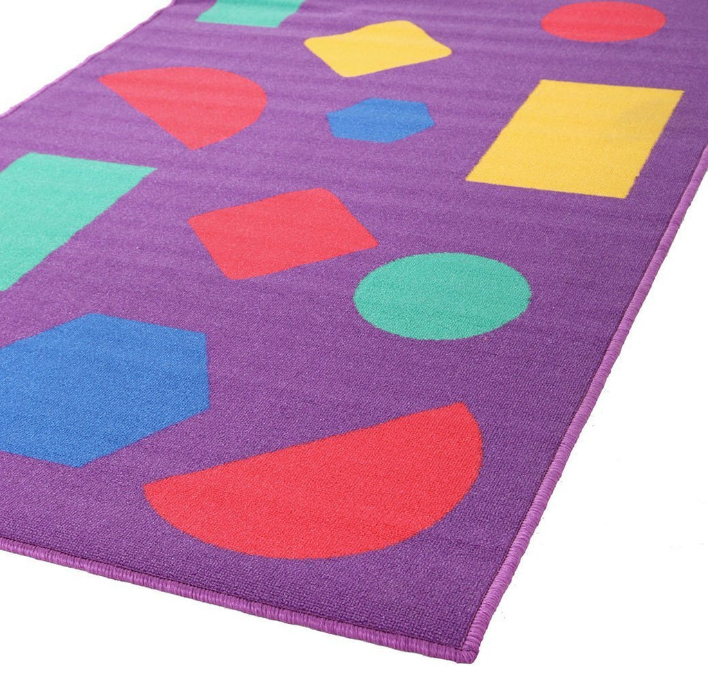 Kids Non Slip Shapes Rug Purple