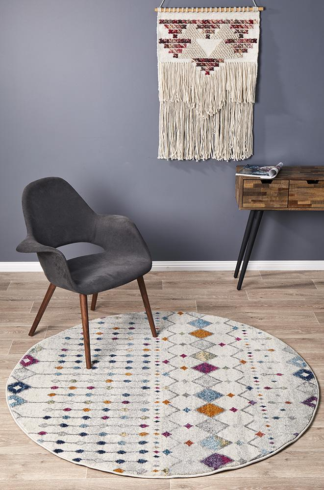Mirage Peggy Tribal Morrocan Style Multi Round Rug