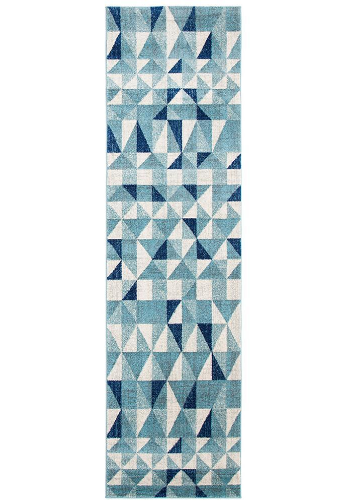 Mirage Illusion Modern Geo Blue Ivory Rug