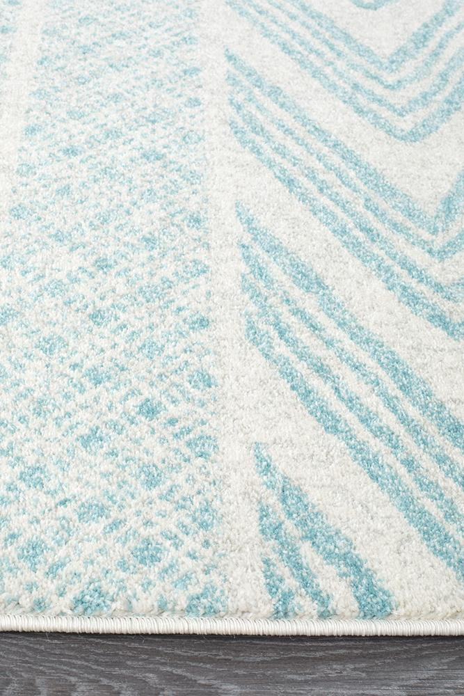 Mirage Adani Modern Tribal Design Sky Blue Runner Rug
