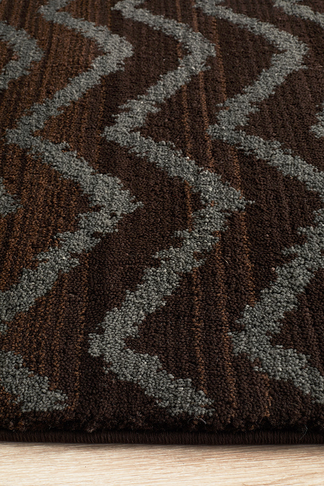 Moroccon Style  Chevron Design Brown Grey Rug