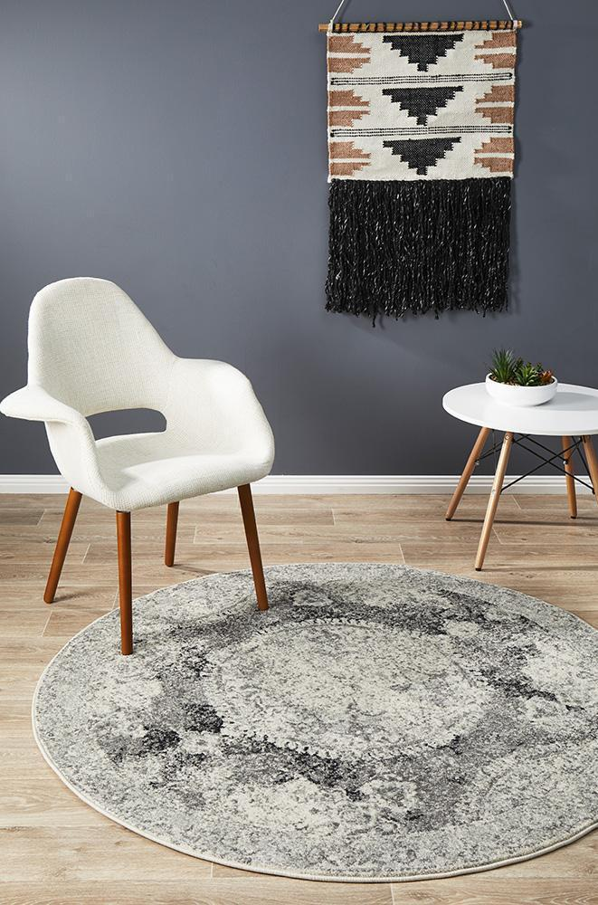 Museum Beverly Charcoal Round Rug
