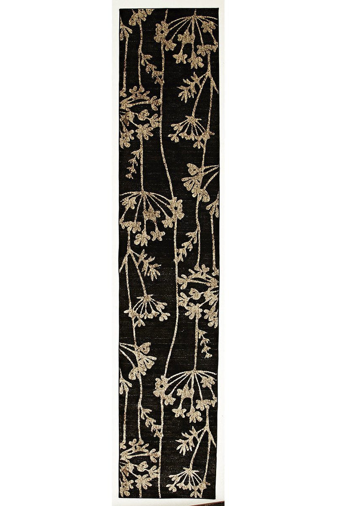 Mystique Delicate Floral Pattered Runner Rug Black