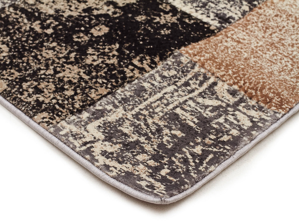 Mystique Collection Patchwork Design Grey Rug