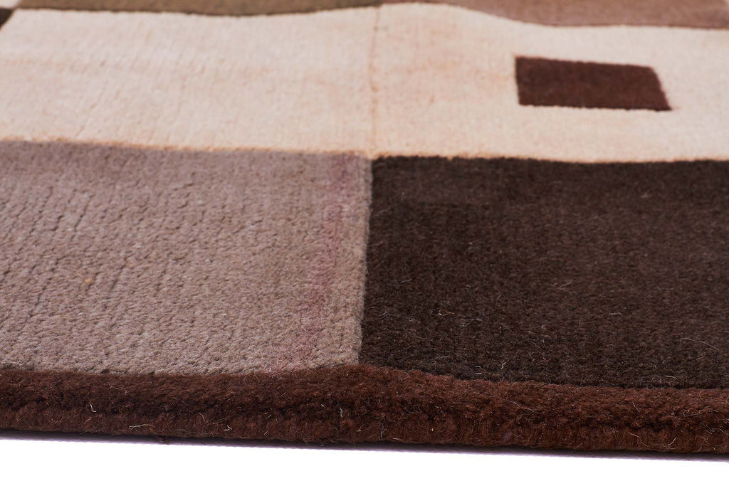 Central Park Modern Wool Rug Brown Green