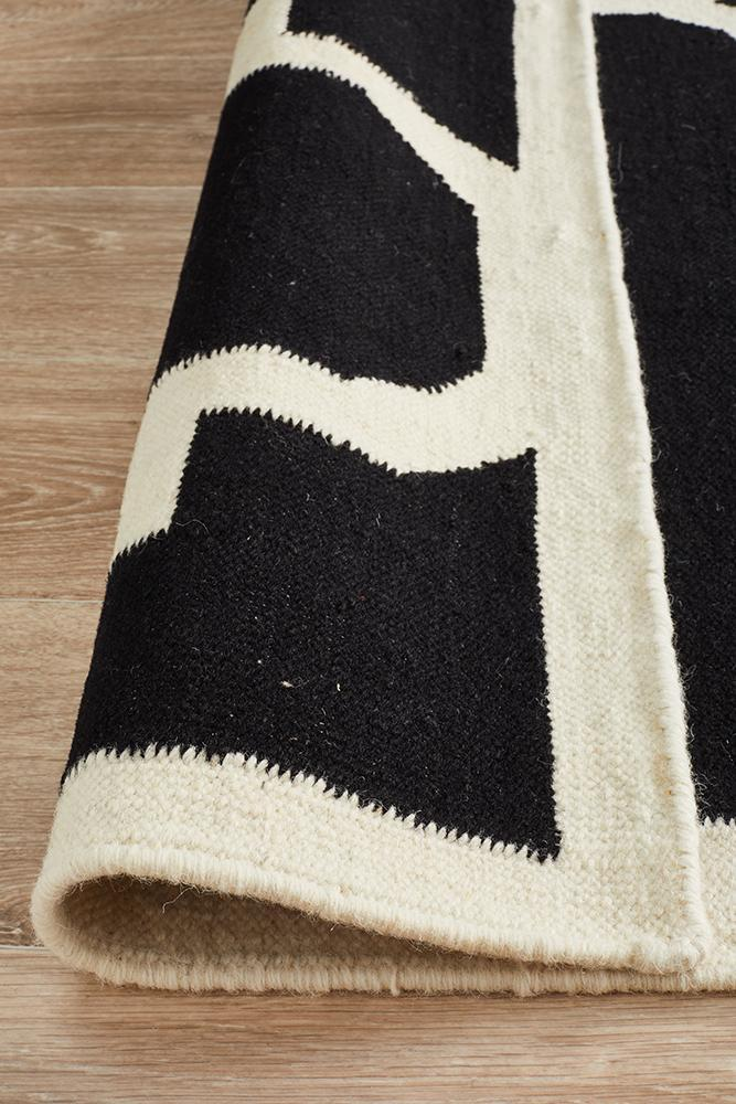 Nomad Pure Wool Flatweave 23 Black Runner