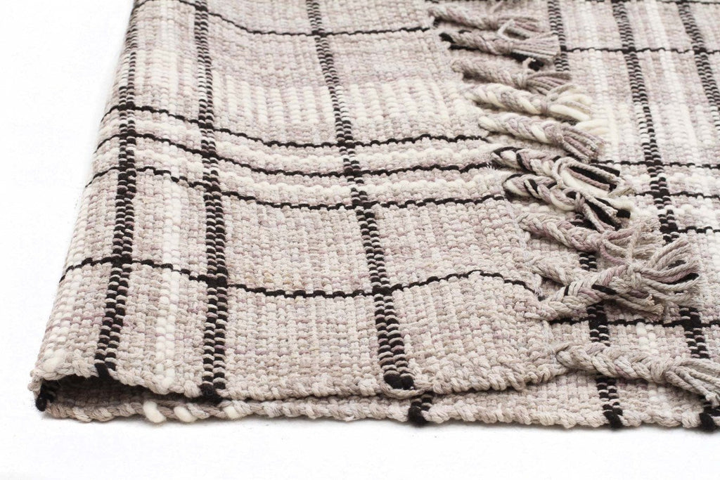 Nordic Striped Cotton Wool Flat woven Grey Rug