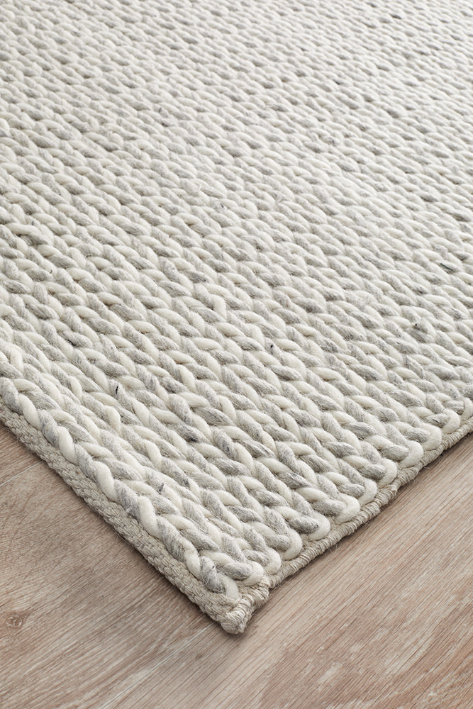 Studio Helena Woven Wool Rug Grey White