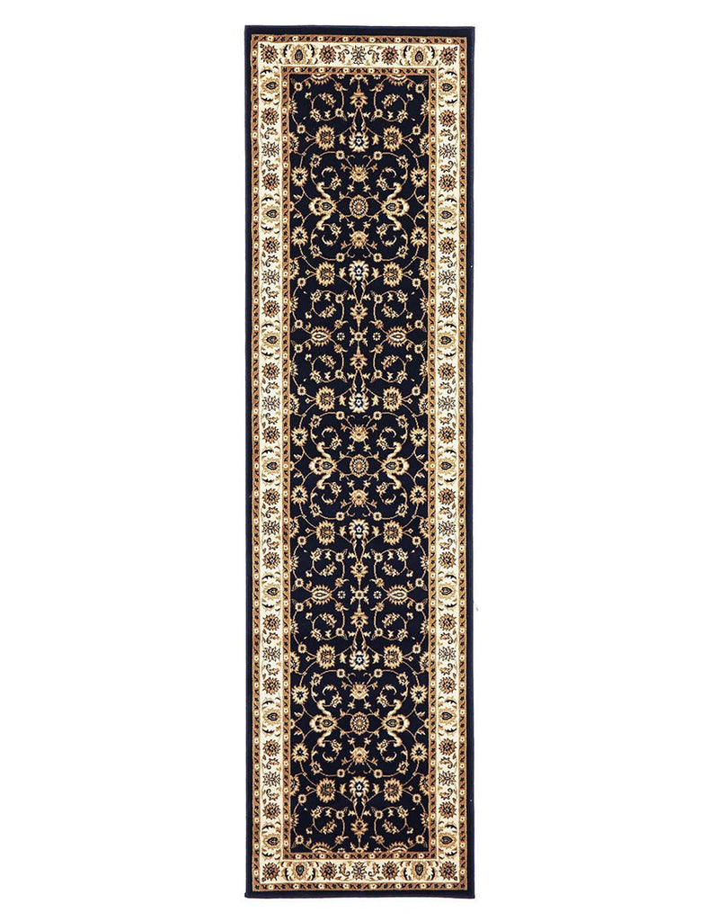 Sydney Classic Runner Blue With Ivory Border Runner Rug
