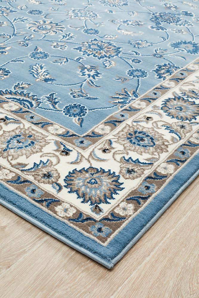 Sydney Collection Classic Rug Sky Blue Border