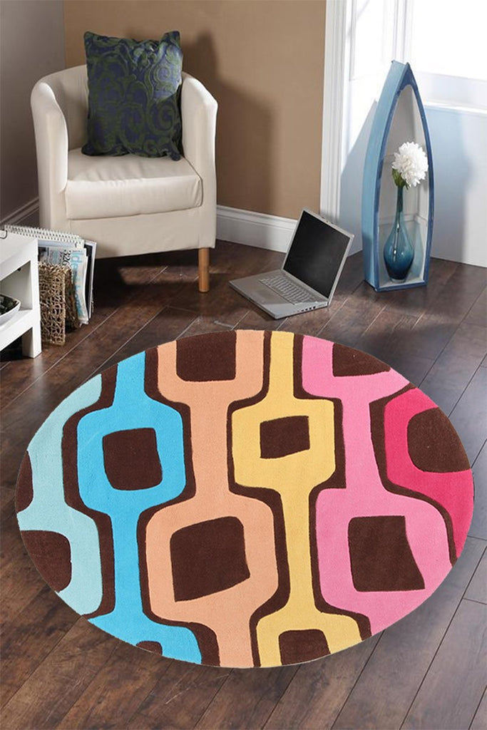 Gold Collection 620 Brown Round Rug