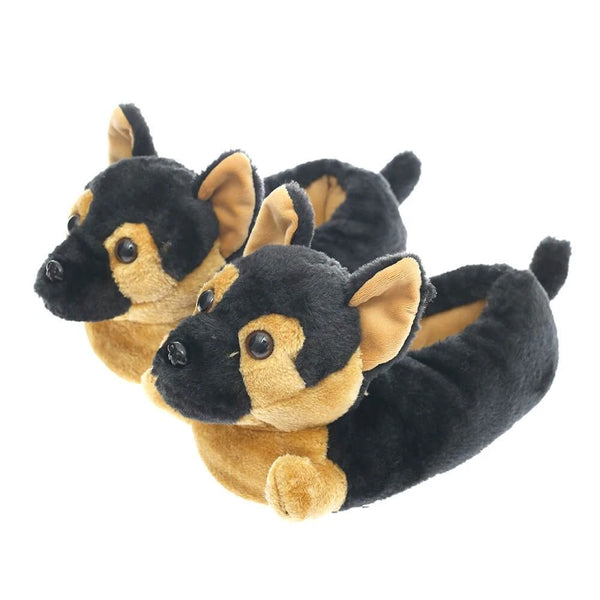 Image of German Shepherd indoor slippers in black and tan color