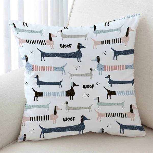 Image of a cutest infinite dachshund print cushion cover with white background, made of soft microfiber