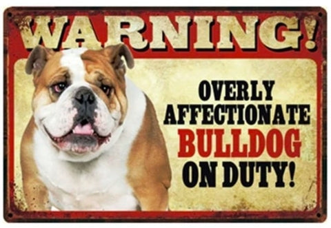 Beware of English Bulldog Sign Board