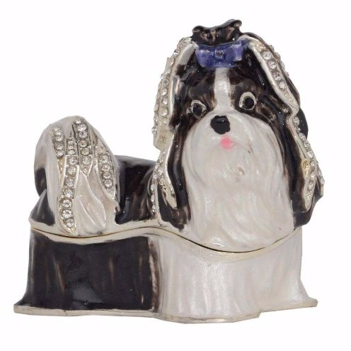 Image of a black and white Shih Tzu jewellery box for rings, earrings, necklaces and other jewellery items