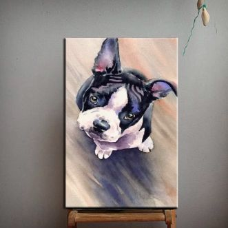 Image of an art painting with a cute looking Boston Terrier puppy
