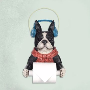Image of a super fancy looking Boston Terrier toilet roll holder