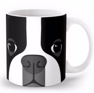 Image of a coffee mug with a cute abstract boston terrier print