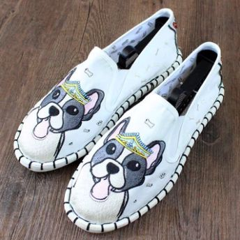Image of white shoes with a super cute Boston Terrier design