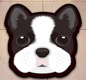 Image of a floor rug in the shape of a cute Boston Terrier's face with big round black eyes
