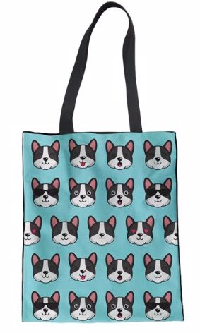 Image of a canvas handbag with a cute infinite Boston Terrier print with different face expressions