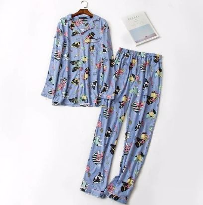 Image of matching blue pajamas shirt and bottom set with a cute boston terrier print