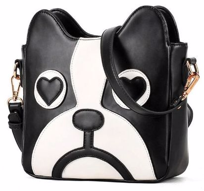 Image of a womens should bag purse in the shape of a Boston Terrier