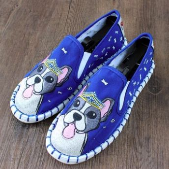 Image of blue shoes with a super cute Boston Terrier design