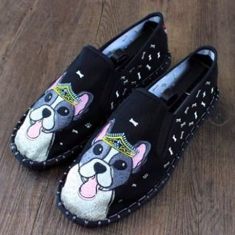 Image of black shoes with a super cute Boston Terrier design
