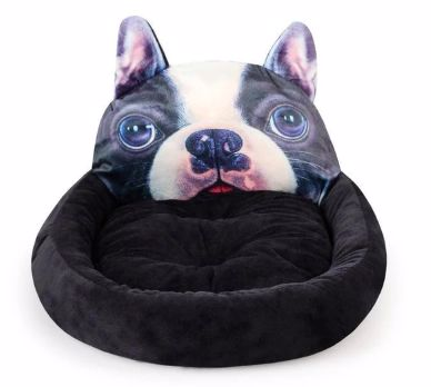 Image of a black pet bed with a cute Boston Terrier design