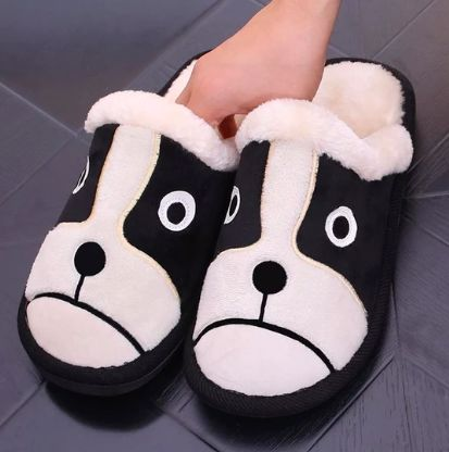 Image of a pair of warm indoor slippers in a cute boston terrier design