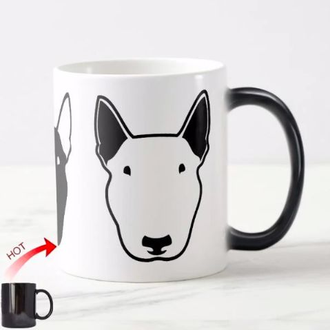 Image of a hot cold color changing coffee mug with a Bull Terrier design