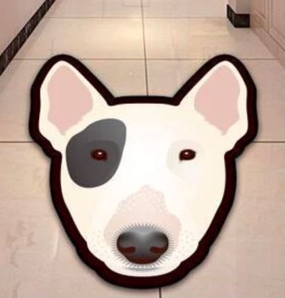 Image of a floor rug in the shape of a white Bull Terrier's face on a white tiled floor