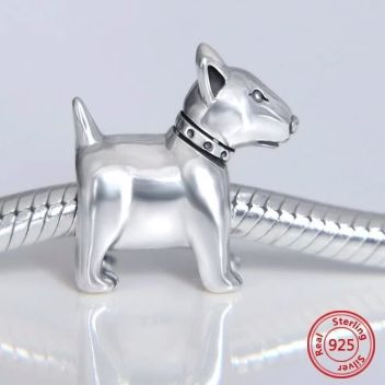 Image of a silver charm jewellery bead in the shape of a Bull Terrier dog