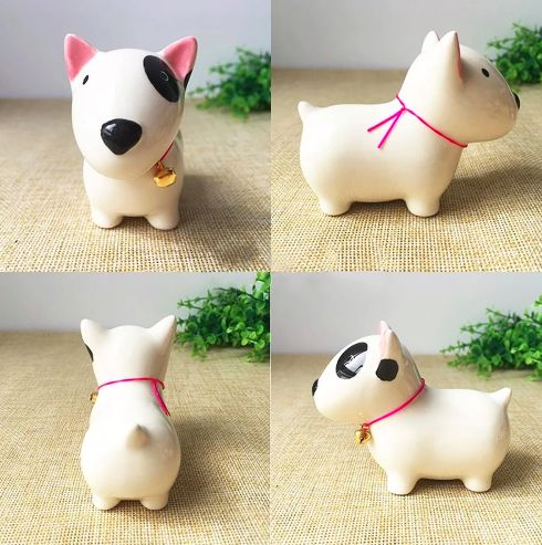 A series of images showing a Bull Terrier ceramic figurine from different angles