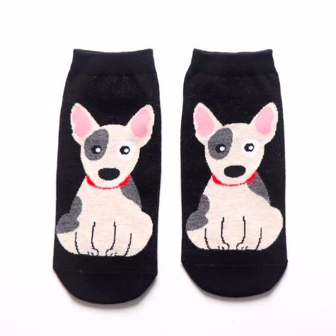 Image of two black ankle length socks for women with a white sitting Bull Terrier dog design