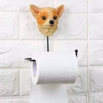 Image of a bathroom toilet roll holder with a cute Chihuahua design