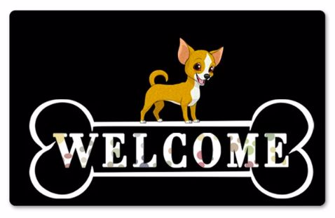 Image of a black rubber doormat with a Chihuahua standing on top of a giant bone which says Welcome