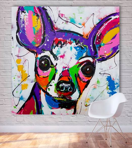 Image of a wall painting with a colorful Chihuahua modern art design