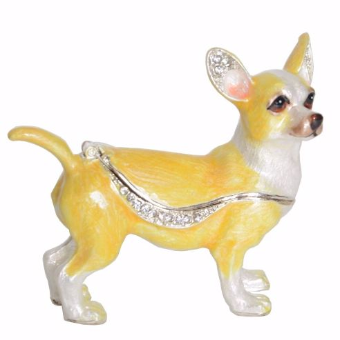 Image of a jewellery ornament box in the shape of a Chihuahua