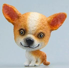 Image of a fridge magnet which looks like a cute sitting Chihuahua with a super big face