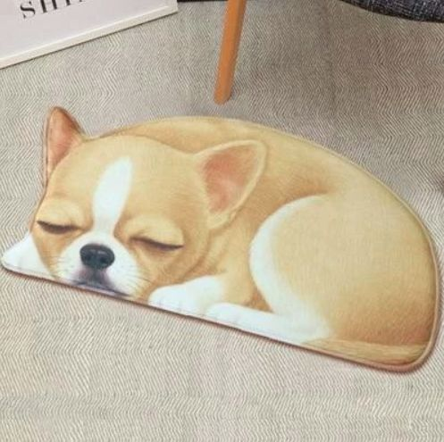 Image of a floor rug with a cute sleeping Chihuahua design