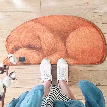 Image of a women's feet wearing white shoes standing on a doormat which looks like a sleeping Cockapoo dog