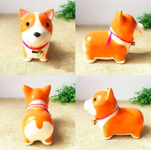 A series of four images showing a cute orange Corgi ceramic figurine from different angles