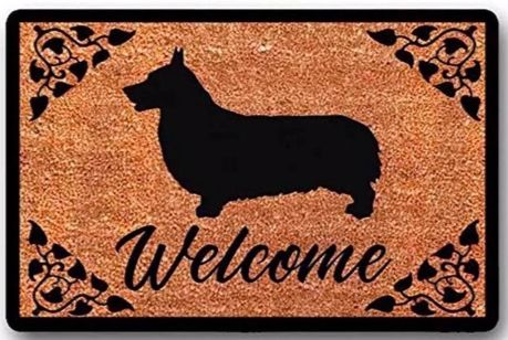 Image of an outdoor mat with an Corgi silhouette and Welcome written below