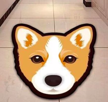 Image of a floormat which looks like a cute Corgi's face