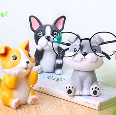 Image of three glasses or shades holders in the shape of a cute Corgi, Boston Terrier and Schnauzer